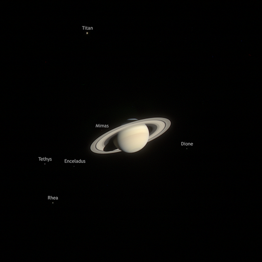 Saturn family portrait (taken 20 months before Cassini orbit insertion)