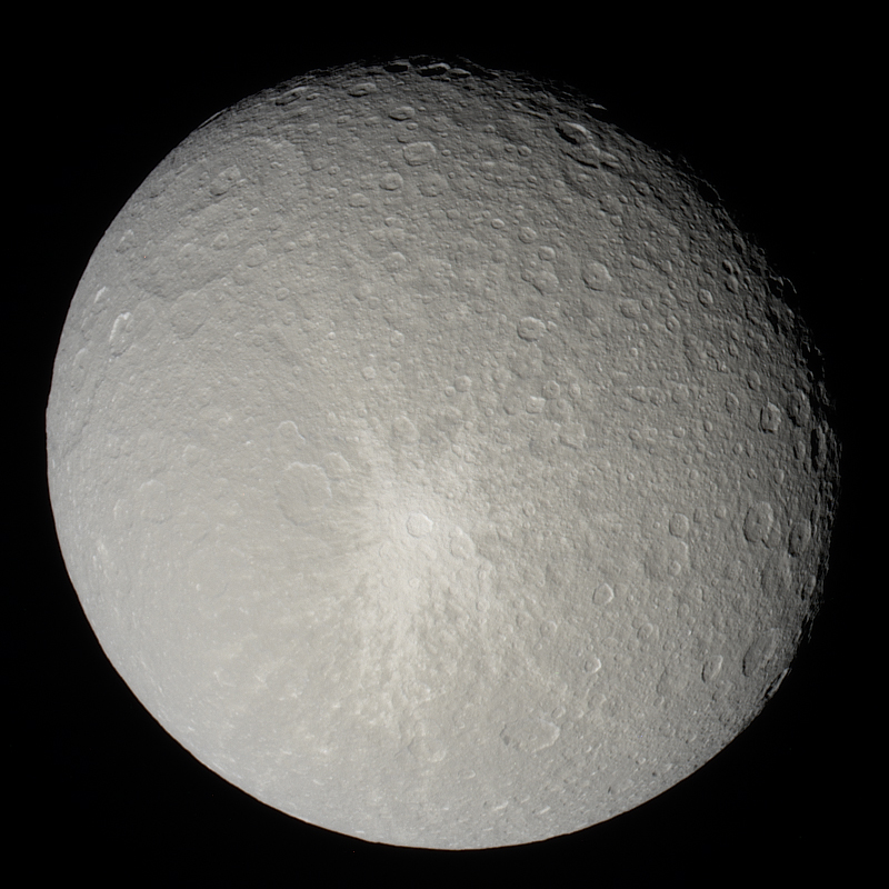 Rhea in natural color, featuring Inktomi crater