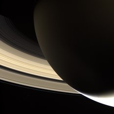 Sunlit rings, nightside Saturn