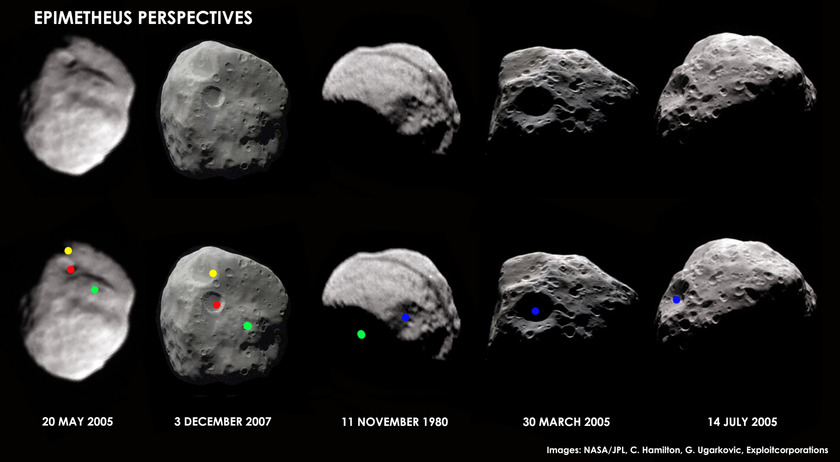 Views of Epimetheus from Cassini and Voyager