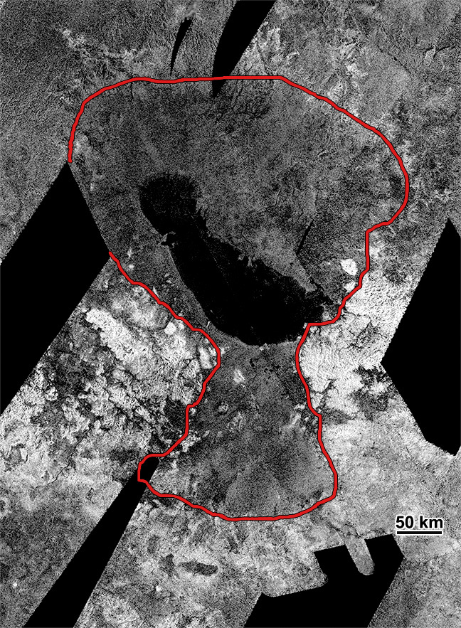 Ontario Lacus, Titan, from Cassini RADAR (annotated)