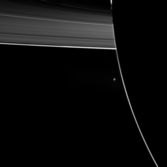 Enceladus and Rings from Saturn's nightside