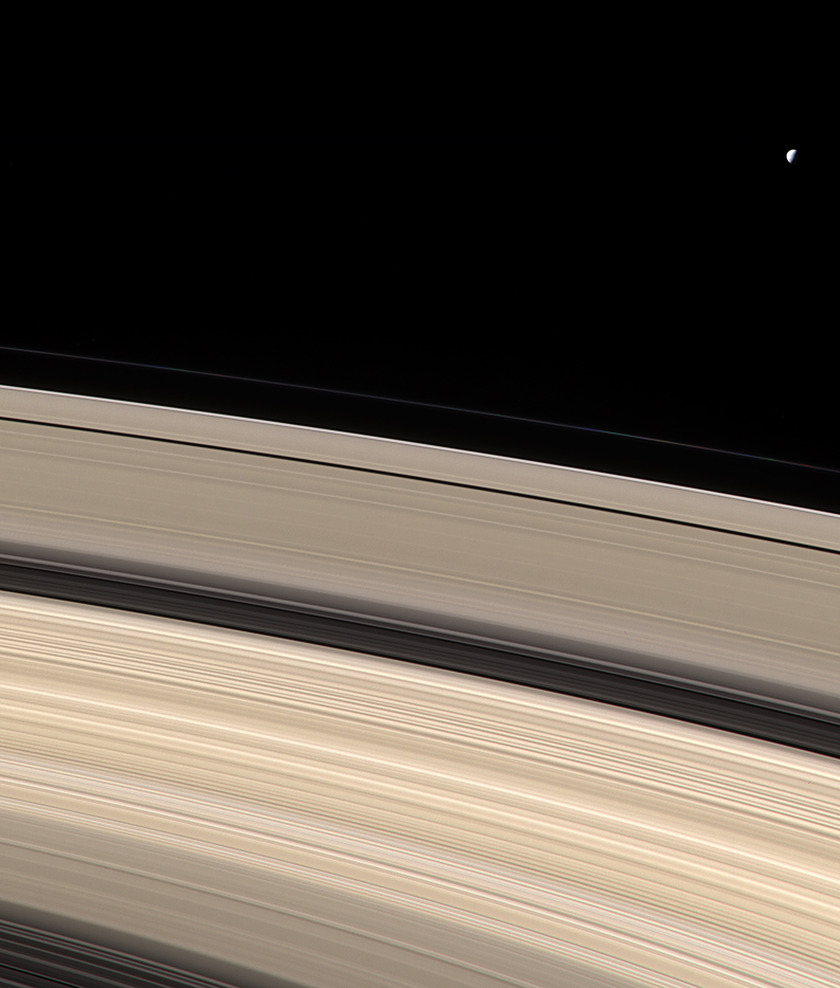 Mimas above the Rings