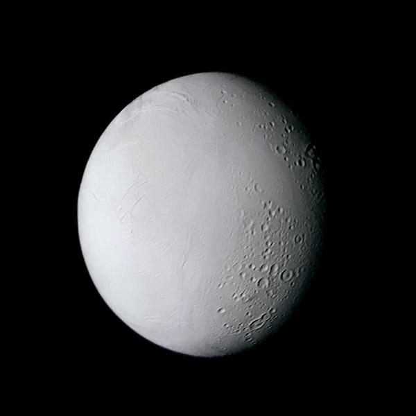 Voyager 2's best color view of Enceladus