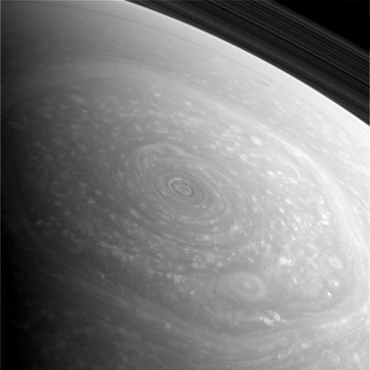 Saturn's north polar hexagon and rings (raw image)