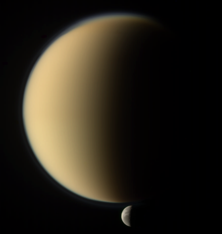 Titan and distant Dione