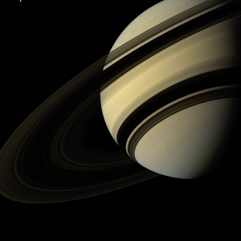 Saturn from the south, with bonus Tethys