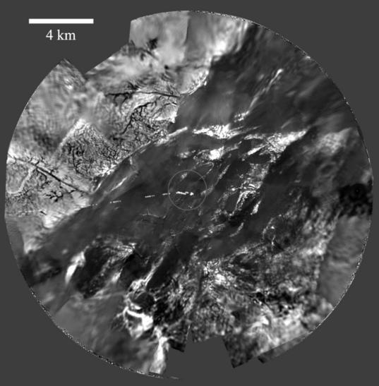 <i>Huygens</i> panorama from an altitude of 8 kilometers (5 miles)