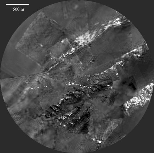 <i>Huygens</i> view of Titan's surface from an altitude of 1.2 kilometers (4000 feet)