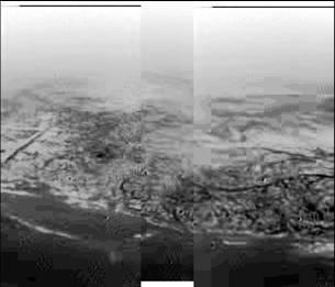 """Huygens DISR panoramic view of Titan """"shoreline"""""""