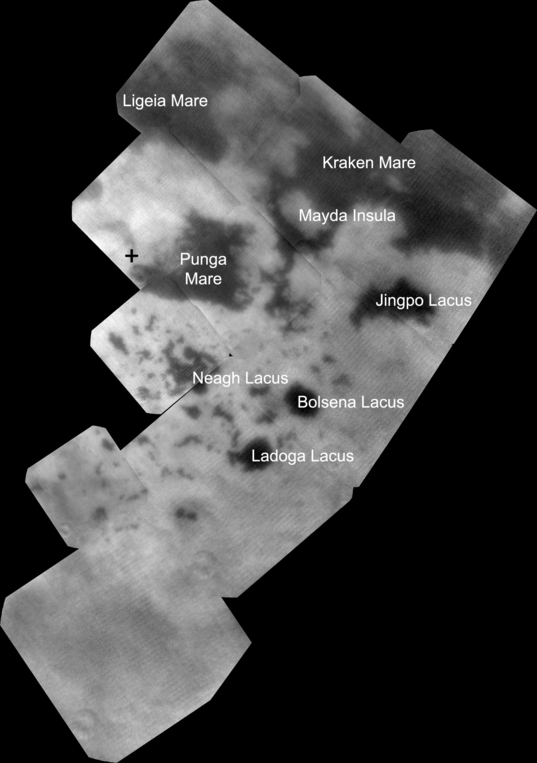 Bird's eye view of Titan's Land of Lakes (annotated version)