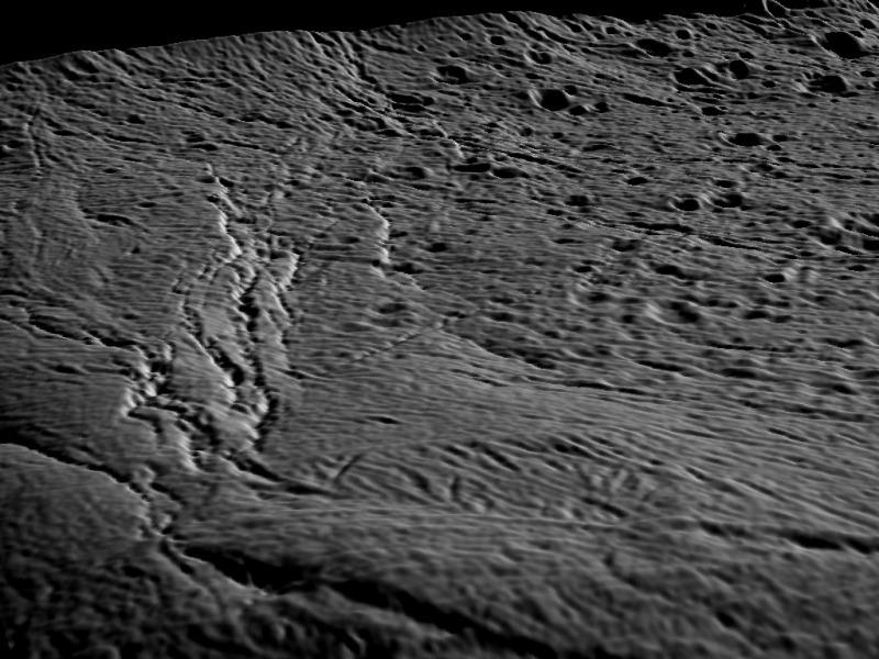 3D view of an Enceladan landscape