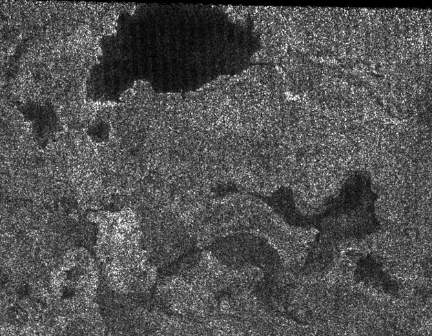 Possible Titan lakes and drainage channels