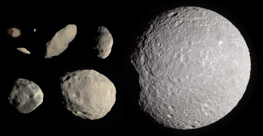 Saturn's innermost moons: Pan, Daphnis, Atlas, Prometheus, Pandora, Epimetheus, Janus, and Mimas, to scale
