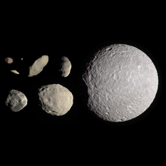 Saturn's innermost moons: Pan, Daphnis, Atlas, Prometheus, Pandora, Epimetheus, Janus, and Mimas, to scale