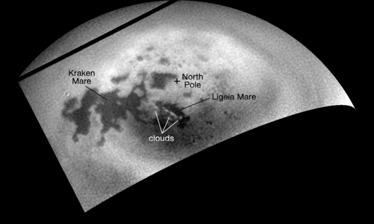 Summer clouds drift across Titan's north pole
