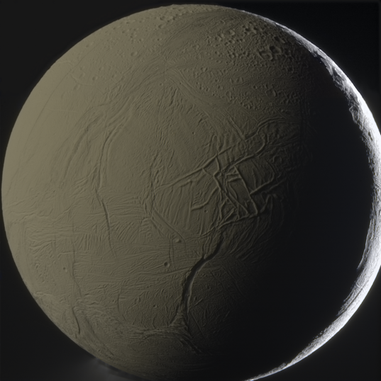 Global Saturnshine view of Enceladus in color