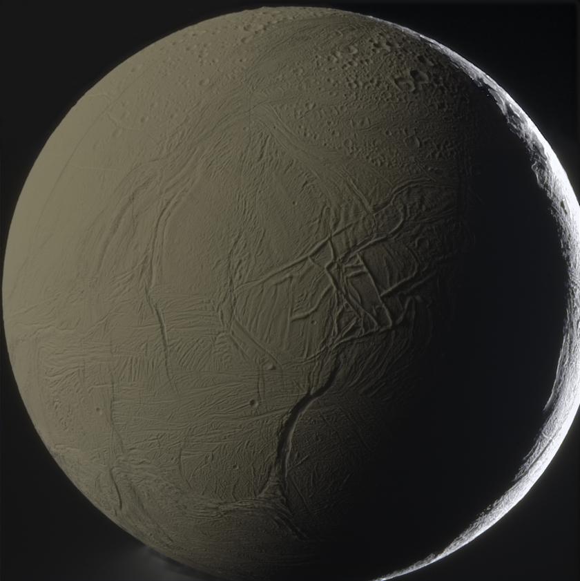 Global Saturnshine view of Enceladus in color