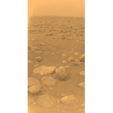 Huygens view of Titan's surface (colorized)