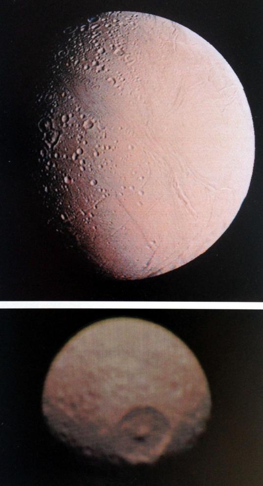 Enceladus and Mimas views from 1997 NASA book