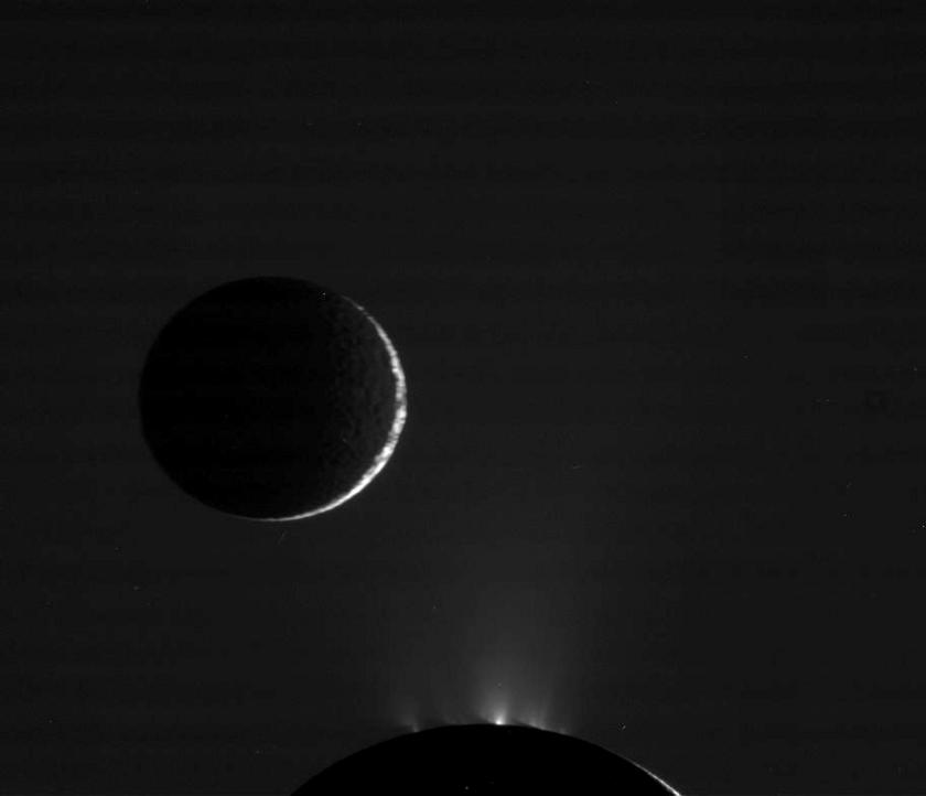 Enceladus and Mimas nightsides