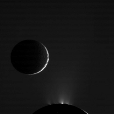 Enceladus and Mimas nightsides