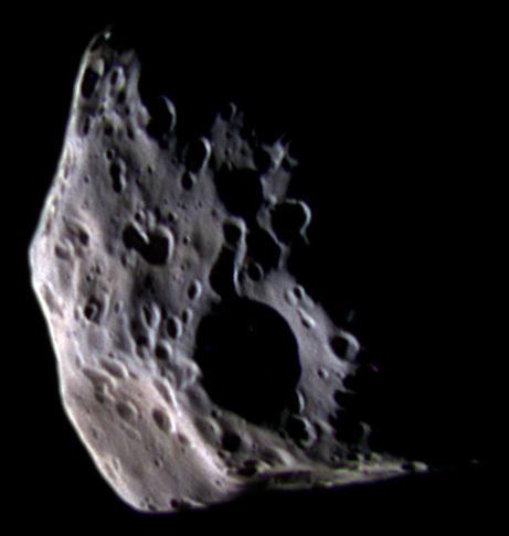 False-color global view of Epimetheus, 30 March 2005