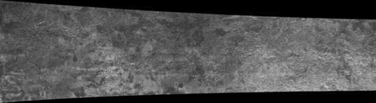 Cassini RADAR swath on Titan, flyby T13, April 30, 2006 (center left section)
