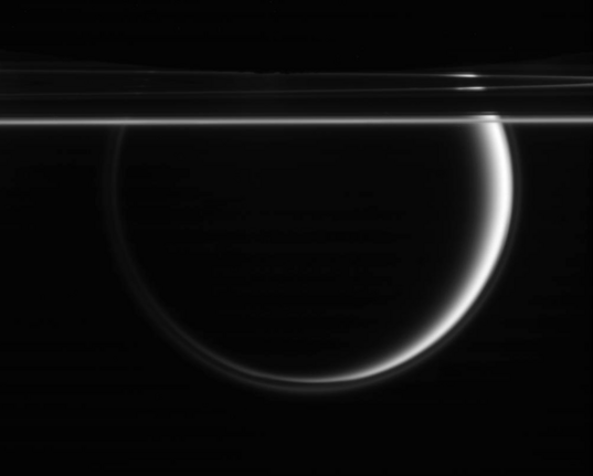 Enceladus, Titan, and the rings of Saturn