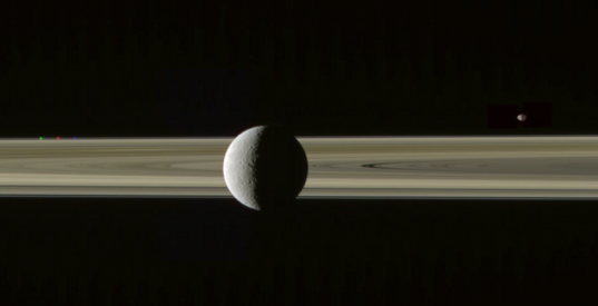 Rhea on the rings with Prometheus and Janus, misaligned (4)