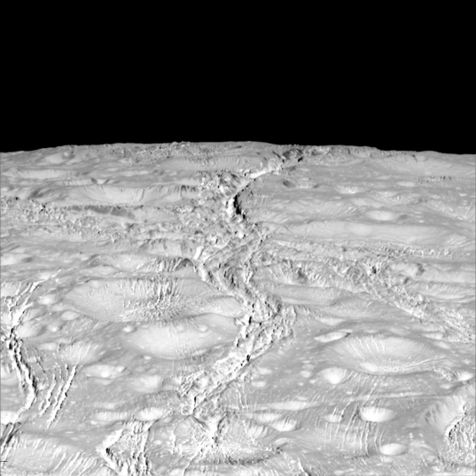 Looking over the north pole of Enceladus