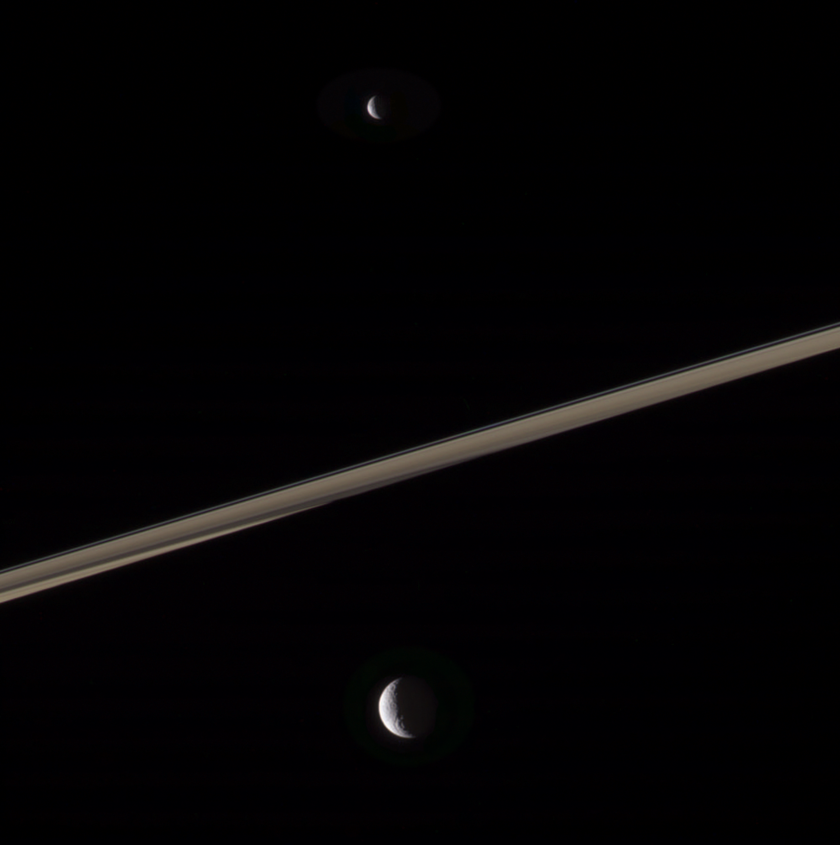 Tethys, Mimas, and the rings of Saturn