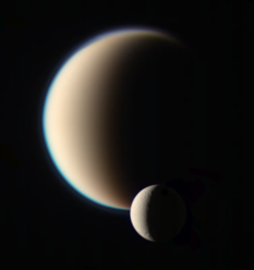 Dione passing in front of Titan