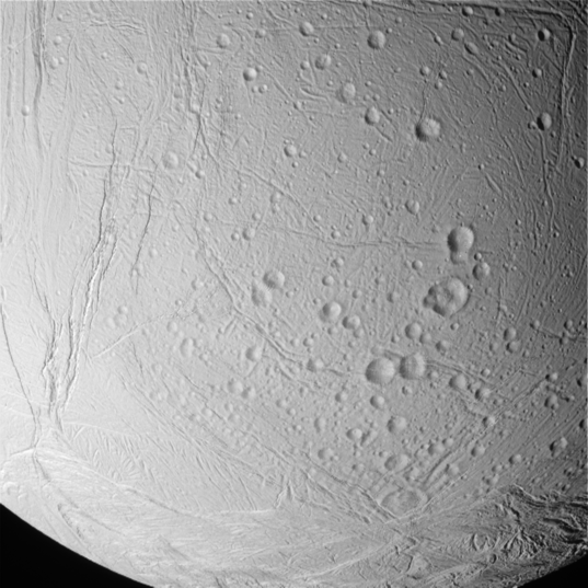 Craters and fissures on Enceladus