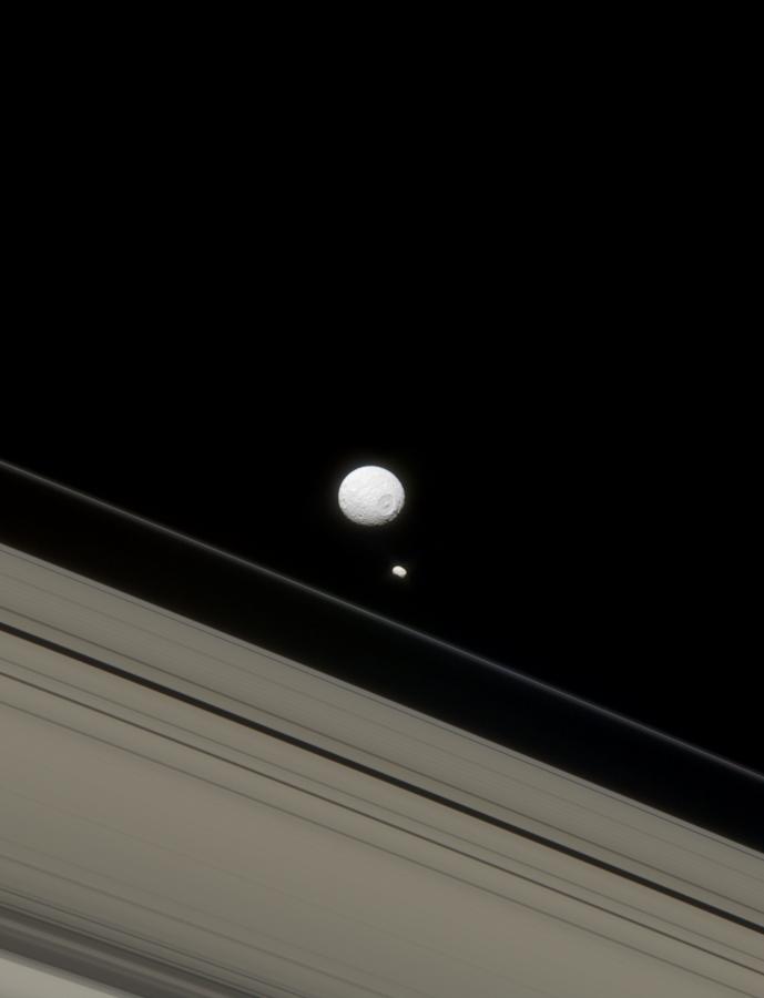 Mimas, Pandora, and Saturn's rings