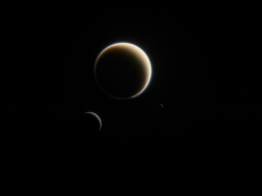 Titan, Rhea, and Mimas