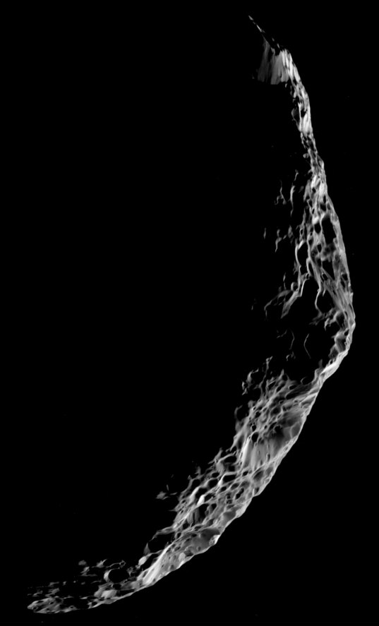 High-Resolution Mosaic of a Crescent Hyperion, 26 September 2005