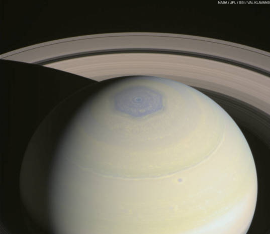 Saturn's north polar hexagon: wide view