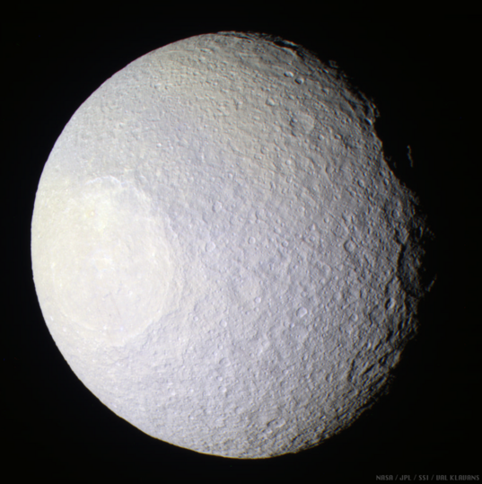 Enhanced-color global view of Tethys, 11 April 2005
