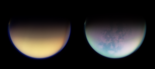 Titan in natural color and infrared