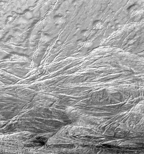 High-resolution view of Enceladus fractures, 2 November 2009