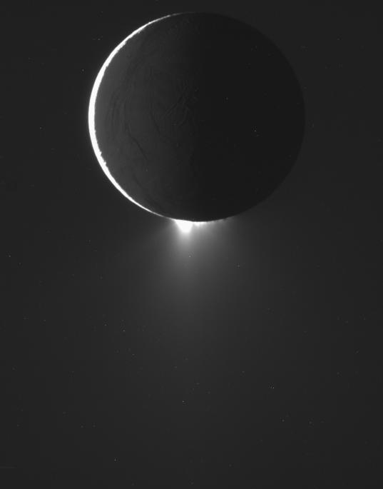 Enceladus' plumes and Saturnshine, 2 November 2009