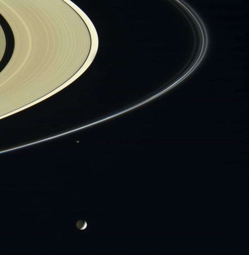 Mimas and Saturn's Rings