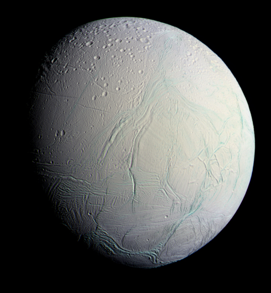 Enceladus in false color, 29 October 2015