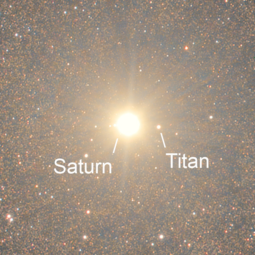 Damian Peach photo of Saturn and Titan among the stars of the Milky Way (detail)