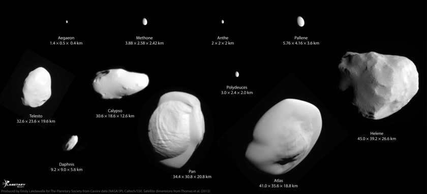 Saturn's tiniest regular moons at 20 meters per pixel