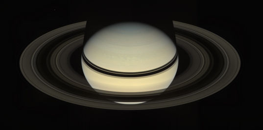 Saturn with backlit rings