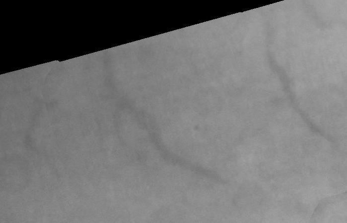 Linear features near Titan's north pole