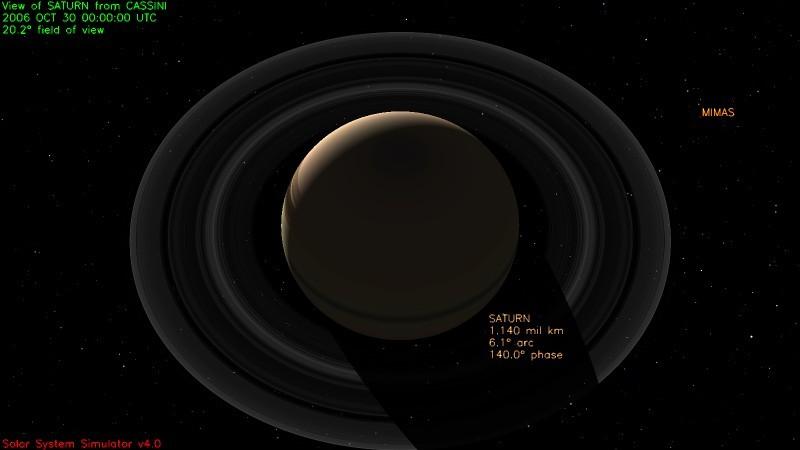 Saturn as seen from Cassini, October 30, 2006