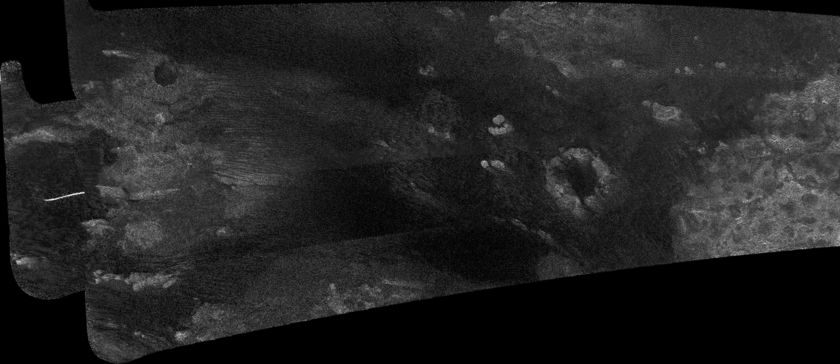 Cassini RADAR swath on Titan, flyby T13, April 30, 2006 (left section)